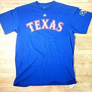 Majestic Mens Sz Med Texas Rangers Baseball Tshirt